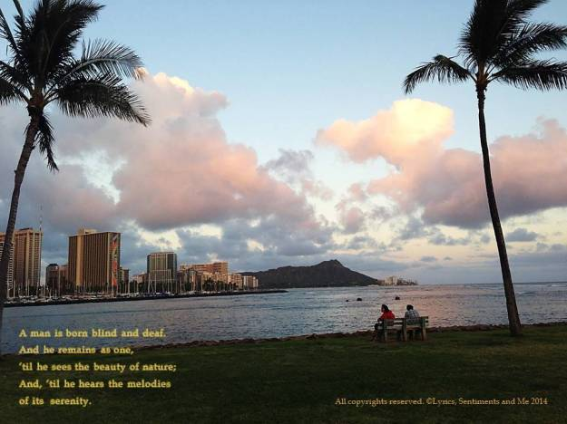 On the left is Waikiki. On far left is Diamond Head Crater (where my school is). On the far right, of course, the Pacific Ocean. And this shot is taken June 7, 2014, 7:04 P.M., @ Ala Moana Beach Park.